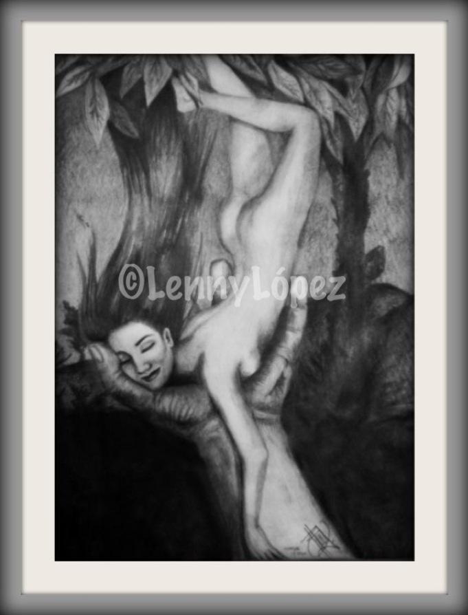 La muyer cayendo / Die fallende Frau. Bleistift auf Papier. 30 x 20 cm. 2008. Unverkäuflich.