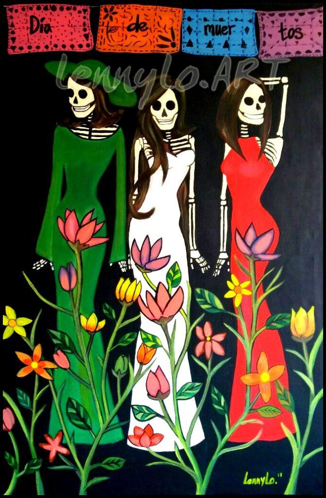 Dia de muertos fashion / Tag der Toten Fashion. Acryl, Öl & Buntstift auf Leinwand. 115 x 75 cm. 2017. Verkauft.