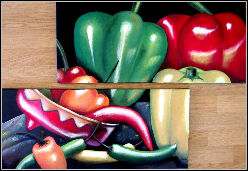 Chiles y pimientos / Chillies und Paprika. Öl auf Leinwand. Je 60 x 30 cm. 2013. € 250,00.