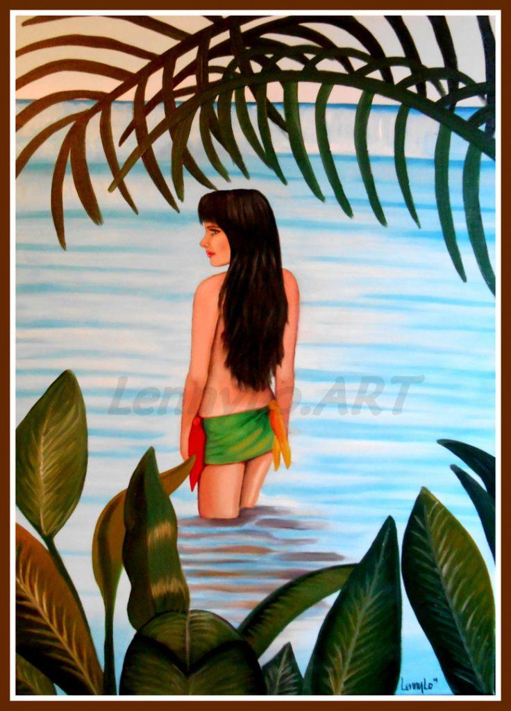 Sola en el mar. Acrílico sobre tela. 70 x 50 cm. 2014. € 220,00.