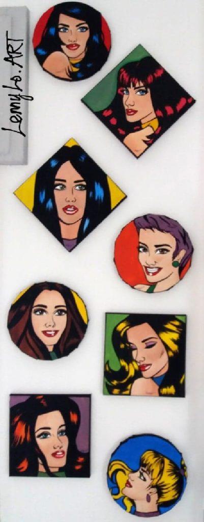 Pop girls. Acryl auf Leinwand. 8 x  20 x 20 cm. 2018. € 240,00.