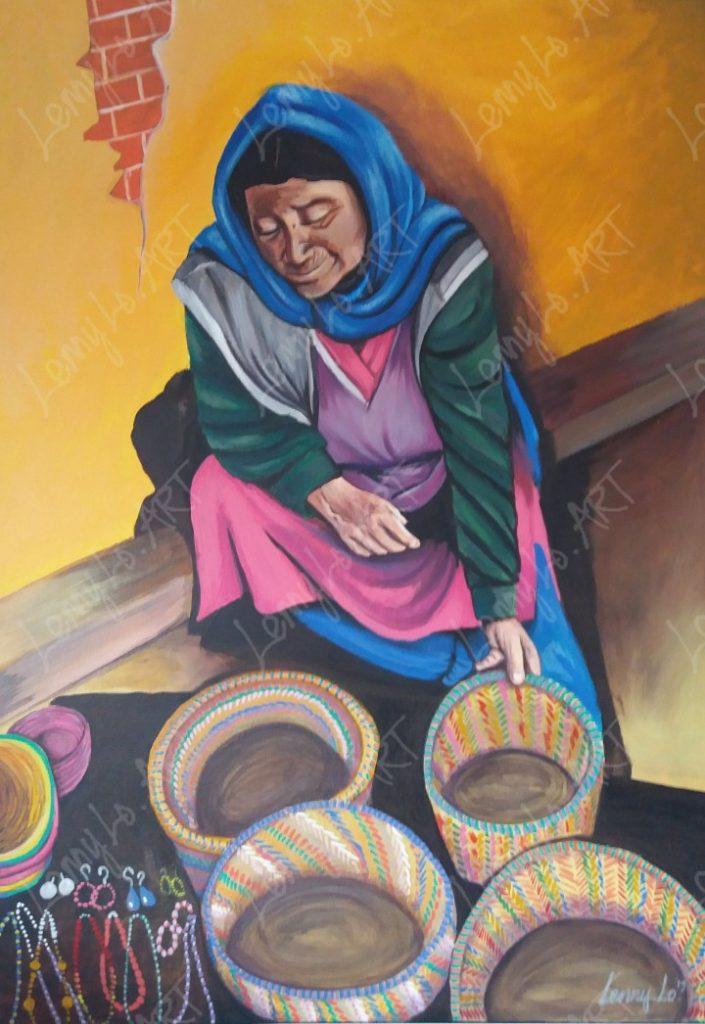 Artesana / Kunsthandwerkerin. Acryl & Buntstift auf Leinwand 70 x 50 cm. 2019. € 250,00.