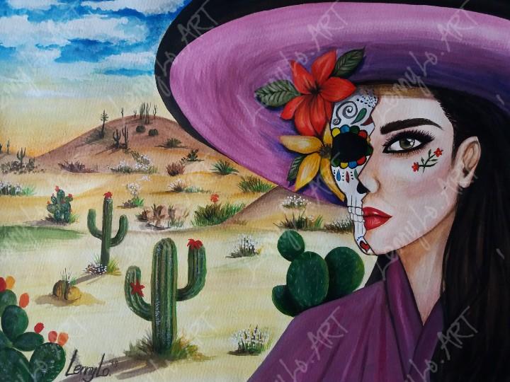 En el desierto / In der Wüste. Acryl & Buntstift auf Papier 48 x 36 cm. 2019. Verkauft.