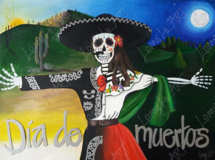 Dia de muertos / Tag der Toten. Acryl & Buntstift auf Papier 48 x 35,5 cm. 2019. € 190,00.