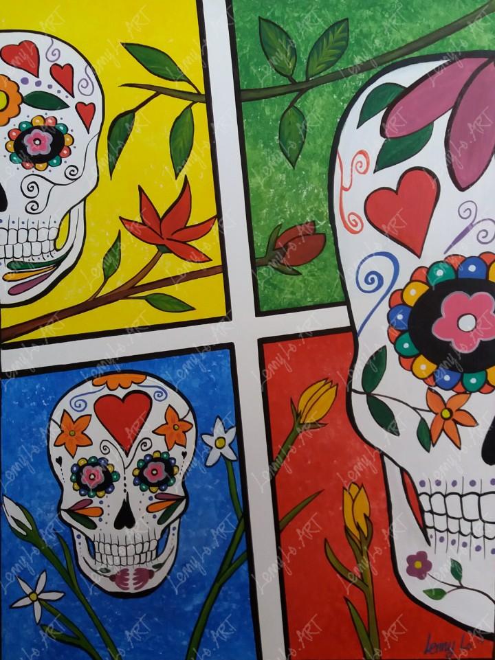 Las calaveras / Die Totenschädel. Acryl auf Leinwand 80 x 60 cm. 2019. € 290,00.