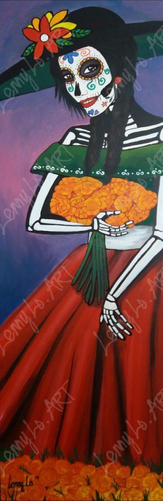 Catrina con cempasúchil / Catrina mit Totenblume. Acryl auf Leinwand 40 x 120 cm. 2019.  € 290,00.
