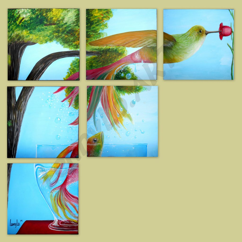 Por la flor / Wegen der Blume. Acryl & Buntstift auf Leinwand. Je 15 x 15 cm. 2015. Verkauft.