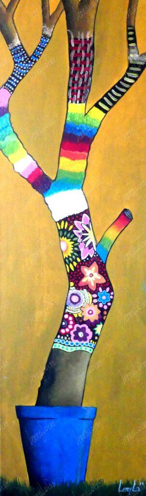 Muerto pero vivo / Tot aber lebendig. Acryl auf Leinwand. 100 x 30 cm. 2014. € 210,00.
