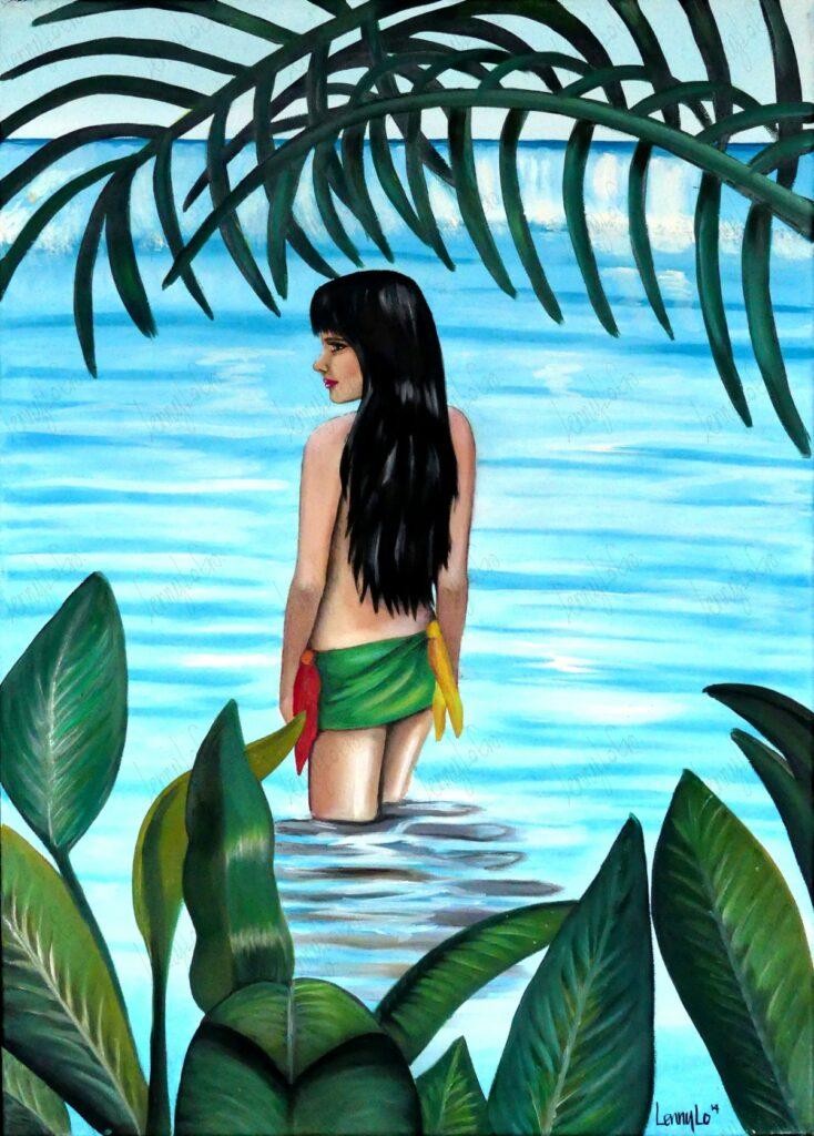 Sola en el mar / Allein im Meer. Acryl auf Leinwand 70 x 50 cm. 2014. € 220,00.