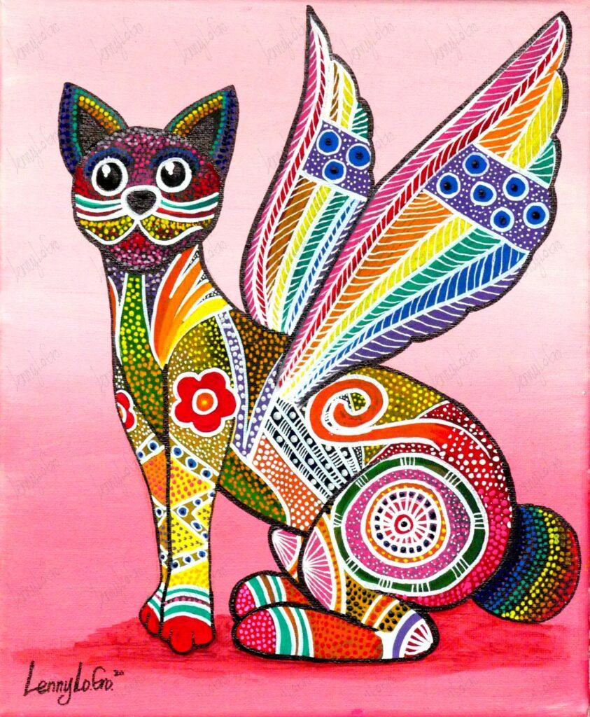 Alebrije gato alado / Fantasietierwesen Katze mit Flügeln. Acryl auf Leinwand. 30 x 25 cm. 2020. € 140,00.