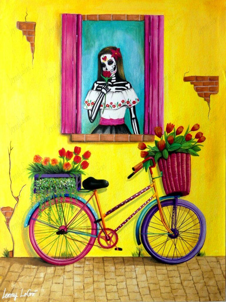 La muerte vívida / Der lebendige Tod. Acryl & Buntstift auf Leinwand 48x36 cm. 2020. Verkauft.