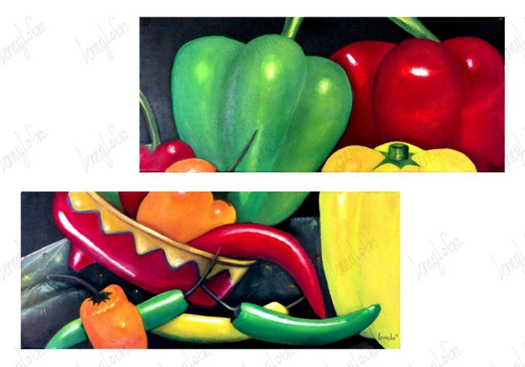 Chiles y pimientos / Chilis und Paprika. Öl auf Leinwand. Je 60 x 30 cm. 2013. € 250,00