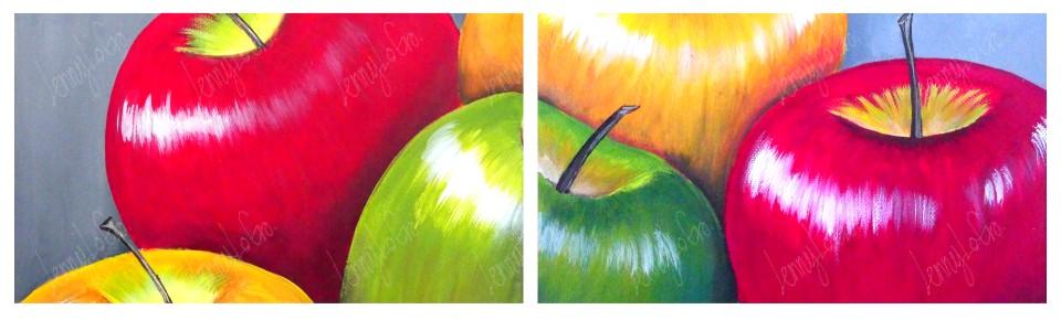 Äpfel / Manzanas.  Öl auf Leinwand. Je 24 x 18 cm. 2013. € 70,00