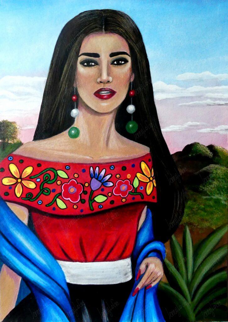 Mexicana IV / Mexikanerin IV. Acryl und Buntstift auf Papier. 24 x 34 cm. 2020. € 150,00.