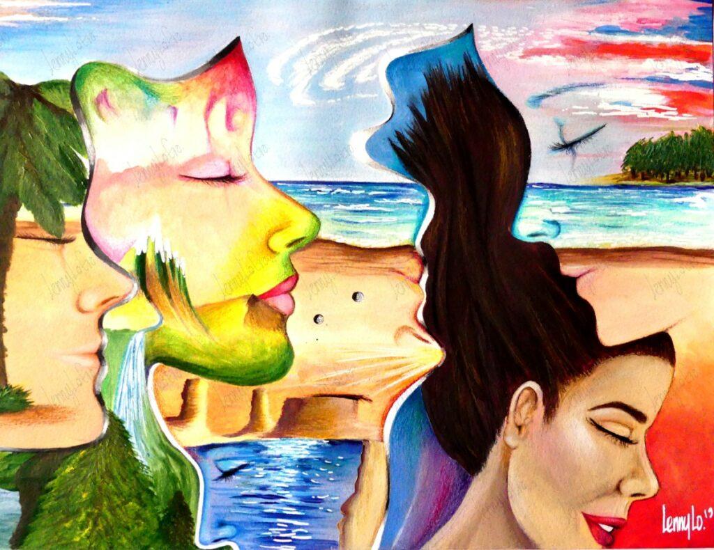 Perfiles de la tierra / Gesichter der Erde. Acryl & Buntstifte auf Papier. 48 x 36  2018 € 190.00.