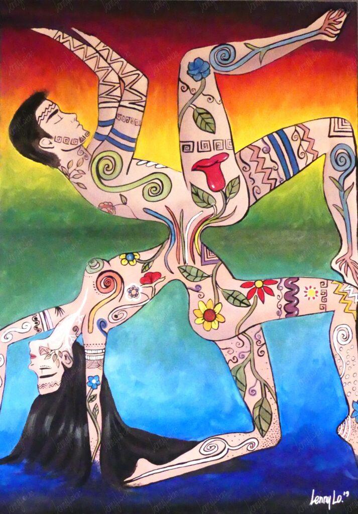 La pareja / Das Paar. Acryl & Buntstift auf Leinwand 100 x 70 cm. 2018. € 310,00.